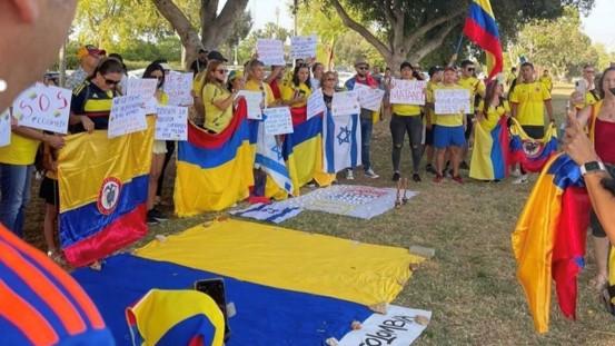 מהגרי עבודה מקולומביה קיימו עצרת בכיכר הבימה בסולידריות עם המפגינים בארצם
