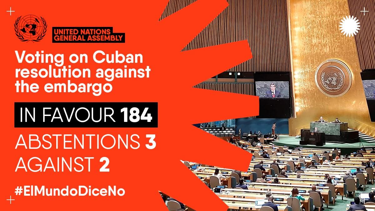 """ממשלה חדשה – מדיניות ישנה: 184 מדינות בעד הסרת האמברגו על קובה; רק ארה""""ב וישראל נגד"""